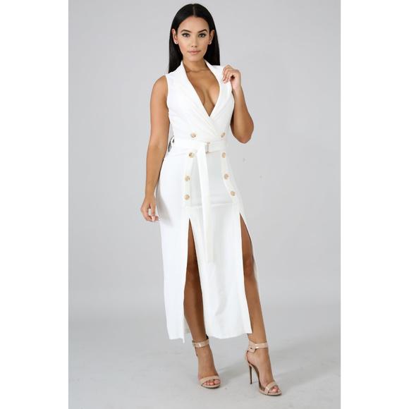 76364b5285 Womens White Tux Slit Leg Midi Dress
